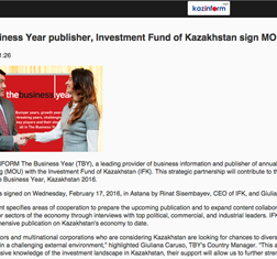 inform.kz covers TBY MoU with the Investment Fund of Kazakhstan