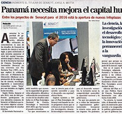 Panama's Capital Financiero covers TBY interview with SENACYT