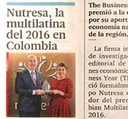 TBY award featured in leading Colombia daily
