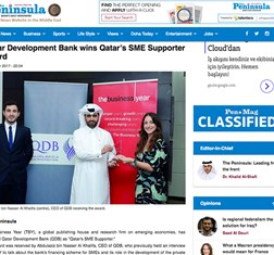 Qatar's SME Supporter award in press