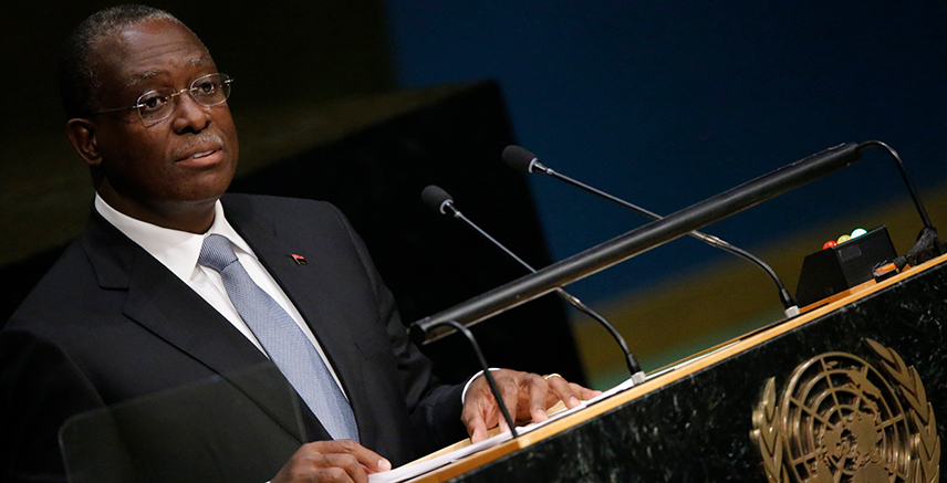 Vice President Manuel Domingos Vicente of Angola addresses attendees during the 70th session of the United Nations General Assembly at the U.N. Headquarters in New York, October 1, 2015. REUTERS/Carlo Allegri
