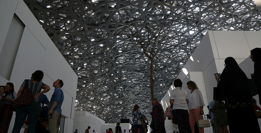 Visitors are seen at the Louvre Abu Dhabi after it was opened to public in Abu Dhabi, United Arab Emirates, November 11, 2017. REUTERS/Satish Kumar